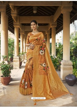 Mustard Digital Printed Designer Party Wear Silk Sari