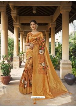 Mustard Digital Printed Designer Party Wear Silk Sari