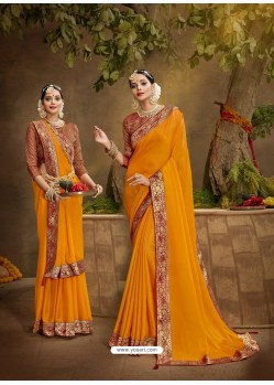 Orange Designer Party Wear Chanderi Silk Sari