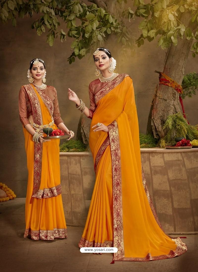 Orange Designer Party Wear Chanderi Silk Sari
