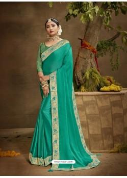 Aqua Mint Designer Party Wear Chanderi Silk Sari