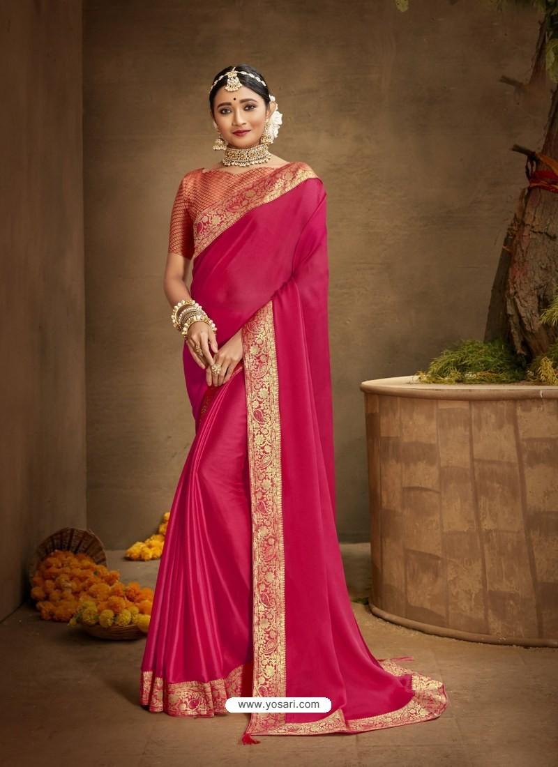 Rose Red Designer Party Wear Chanderi Silk Sari