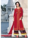 Marvelous Red Lace Work Georgette Designer Palazzo Suit