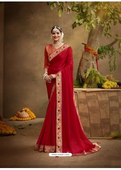 Red Designer Party Wear Chanderi Silk Sari