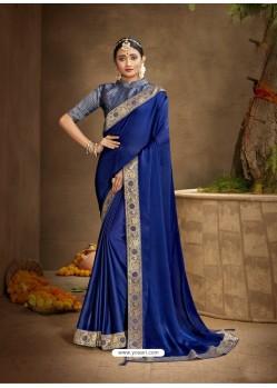 Royal Blue Designer Party Wear Chanderi Silk Sari
