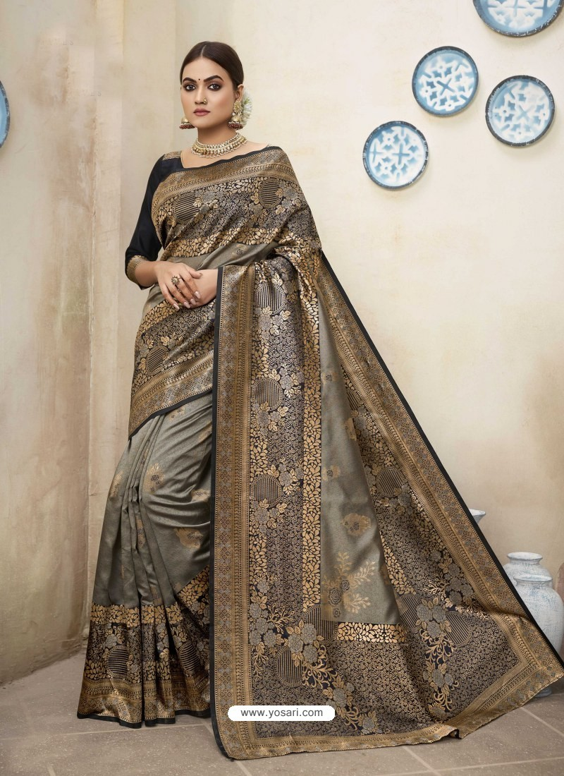 Taupe Designer Party Wear Art Silk Sari