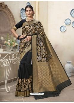 Black Designer Party Wear Art Silk Sari