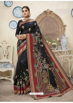 Black Designer Party Wear Art Silk Sari