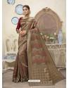 Beige Designer Party Wear Art Silk Sari