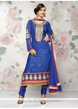 Royal Blue Brasso Georgette Churidar Salwar Suit