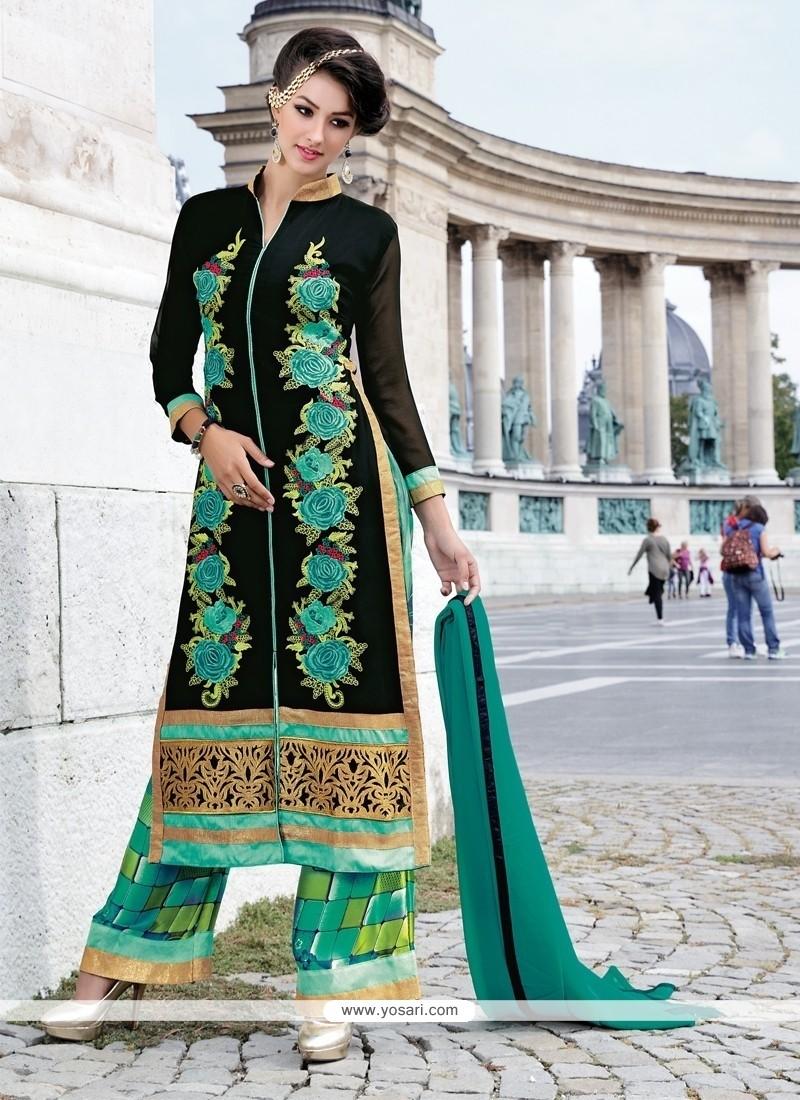 Vibrant Black Georgette Designer Palazzo Salwar Suit