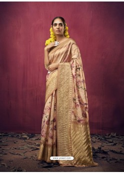 Beige Designer Party Wear Art Silk Sari