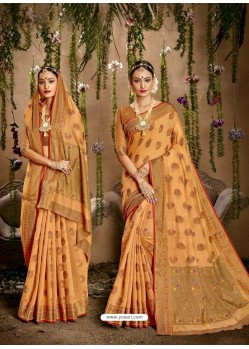 Mustard Designer Classic Wear Cotton Silk Sari