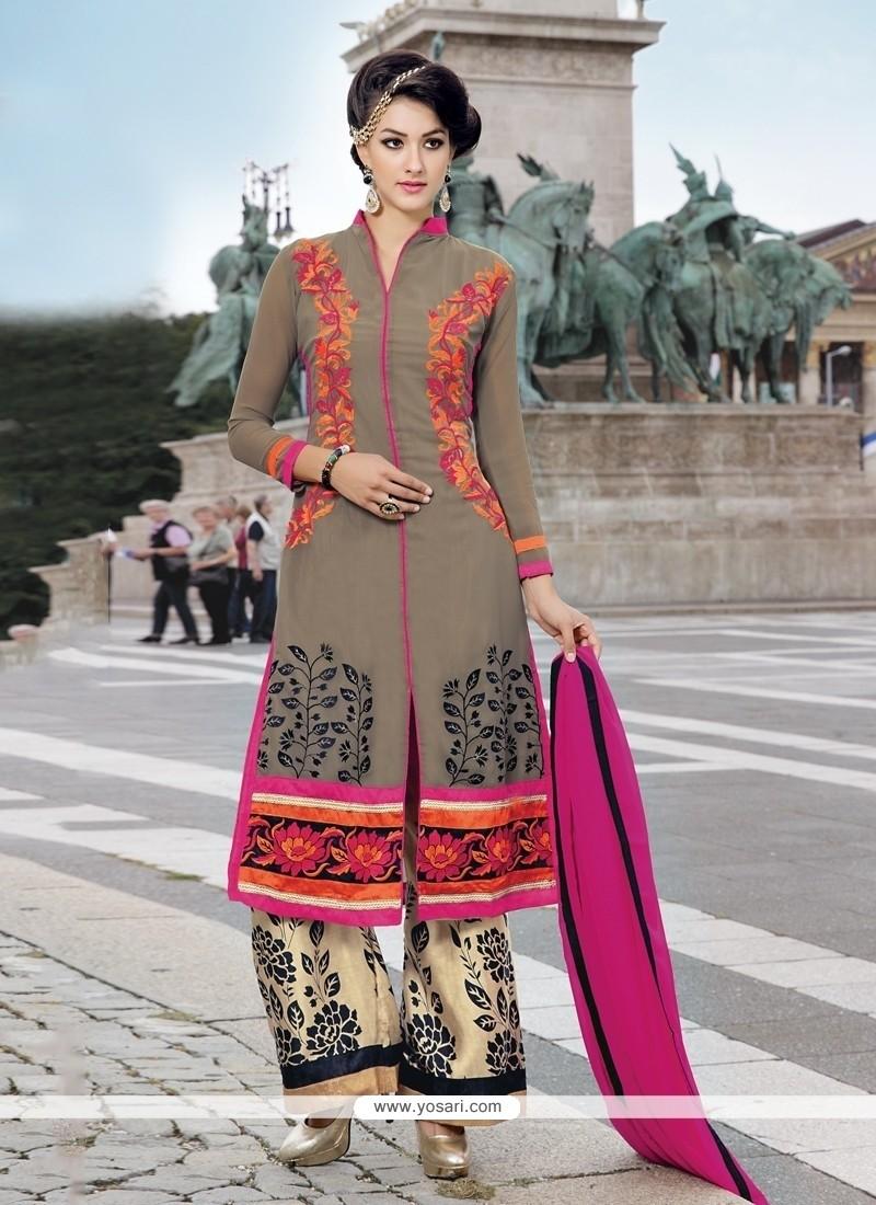 Entrancing Resham Work Designer Palazzo Suit