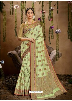 Sea Green Designer Classic Wear Cotton Silk Sari