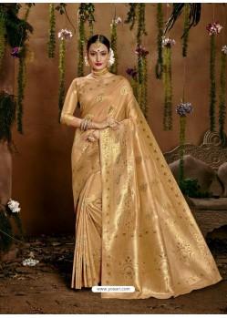 Beige Designer Classic Wear Cotton Sari