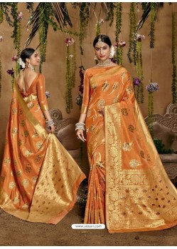 Orange Designer Classic Wear Cotton Sari