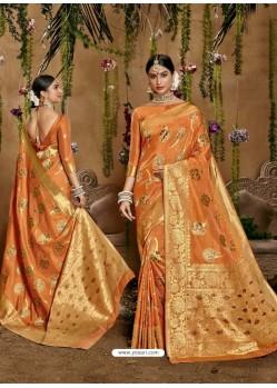 Orange Designer Classic Wear Cotton Sari