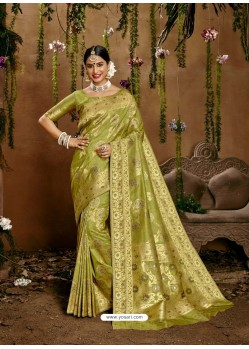 Green Designer Classic Wear Cotton Sari