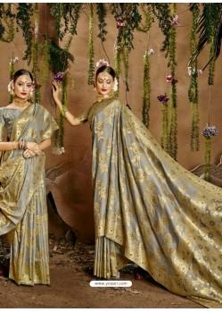 Grey Designer Classic Wear Cotton Sari