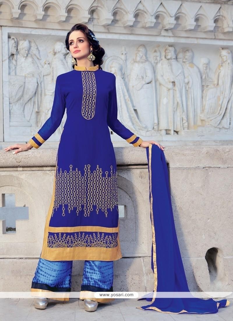 Stupendous Lace Work Blue Designer Palazzo Suit
