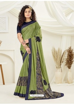 Green Designer Party Wear Indian Lycra Sari