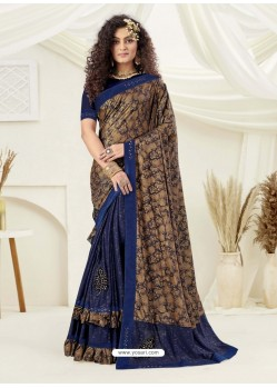 Beige Designer Party Wear Indian Lycra Sari