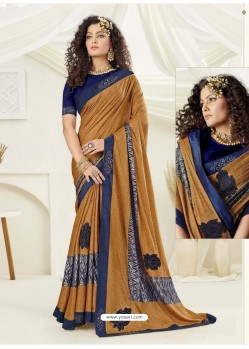 Mustard Designer Party Wear Indian Lycra Sari