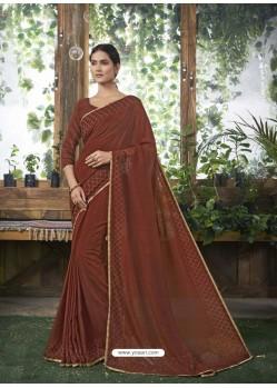 Brown Designer Party Wear Chanderi Silk Sari