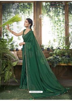Dark Green Designer Party Wear Chanderi Silk Sari