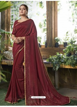 Maroon Designer Party Wear Chanderi Silk Sari