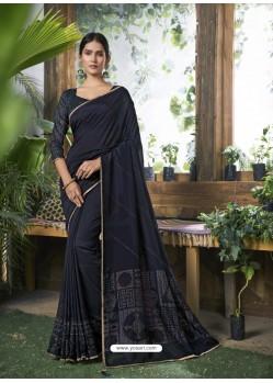 Navy Blue Designer Party Wear Chanderi Silk Sari