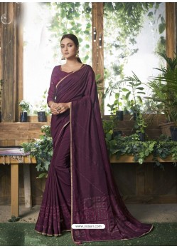 Purple Designer Party Wear Chanderi Silk Sari
