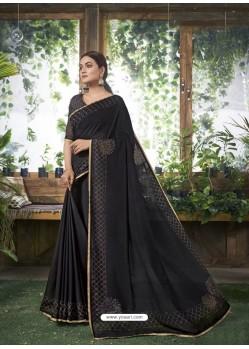 Black Designer Party Wear Chanderi Silk Sari