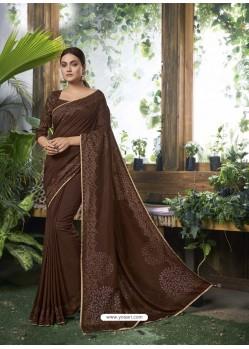 Coffee Designer Party Wear Chanderi Silk Sari