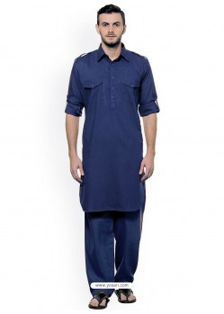 Navy Blue Readymade Designer Pathani Kurta Pajama For Men