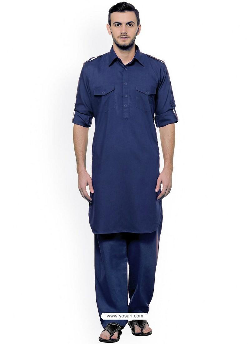 Navy Blue Readymade Designer Pathani Kurta Pajama For Men