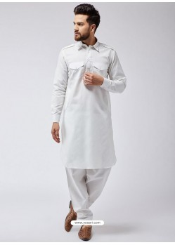 White Readymade Designer Pathani Kurta Pajama For Men