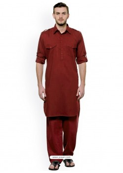 Maroon Readymade Designer Pathani Kurta Pajama For Men