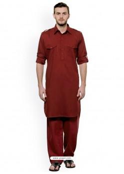 Maroon Readymade Designer Pathani Kurta Pajama For Men