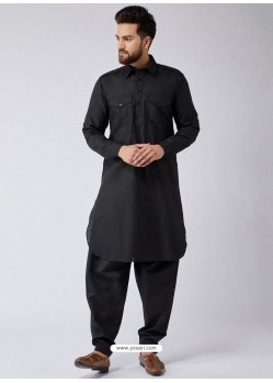 Black Readymade Designer Pathani Kurta Pajama For Men