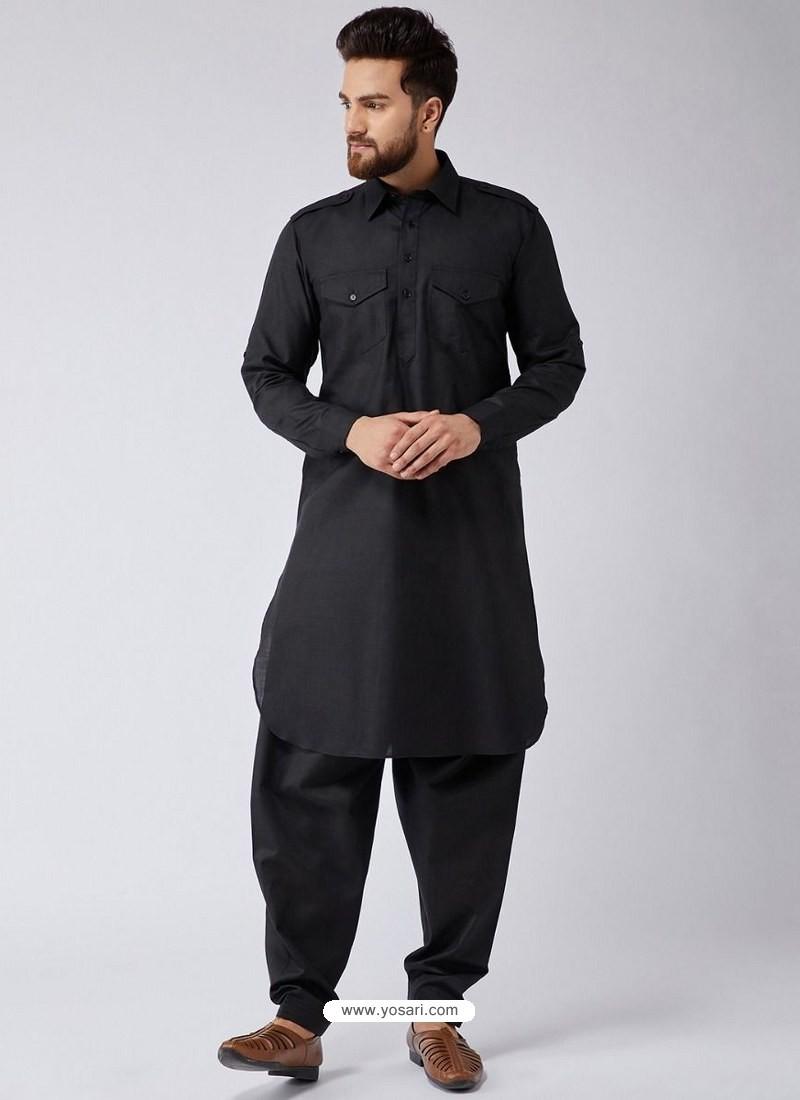 Black Readymade Designer Pathani Kurta Pajama For Men