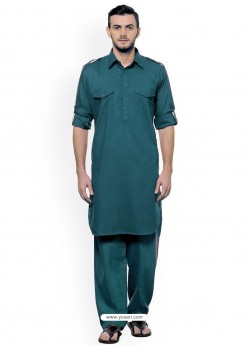 Teal Blue Readymade Designer Pathani Kurta Pajama For Men