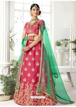 Rose Red Heavy Designer Party Wear Lehenga