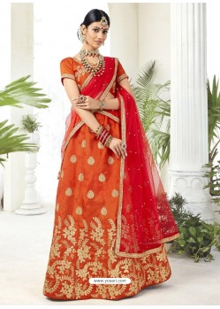 Orange Heavy Designer Party Wear Lehenga