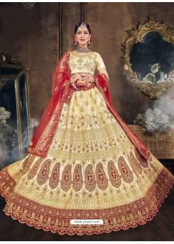Cream Heavy Designer Wedding Lehenga Choli