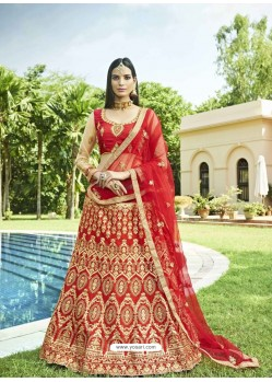 Red Heavy Designer Wedding Wear Silk Lehenga Choli