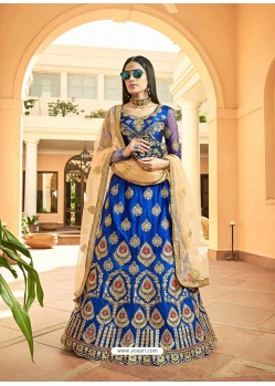 Royal Blue Heavy Designer Wedding Wear Silk Lehenga Choli