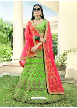 Parrot Green Heavy Designer Wedding Wear Silk Lehenga Choli