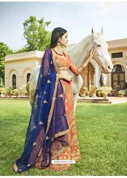Light Orange Heavy Designer Wedding Wear Silk Lehenga Choli